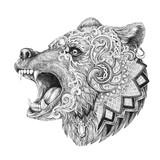 Fototapety Dotwork, tattoo, head enraged bear