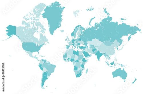 Fotobehang Wereldkaarten Welt Karte blau mit Länder Grenzen Vektor Grafik