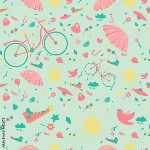 Cotton fabric Spring Seamless Pattern