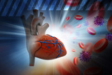 Human heart with platelets and virus in color background poster