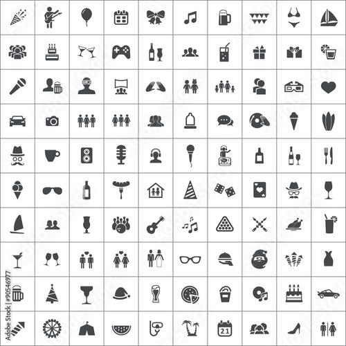 Zdjęcia na płótnie, fototapety, obrazy : party 100 icons universal set