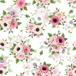Seamless pattern with pink roses, lisianthus and anemone flowers.