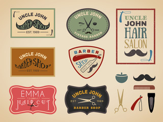 Vintage color tone barber shop logo, labels, badges, banner, emblem, insignia, poster and design element
