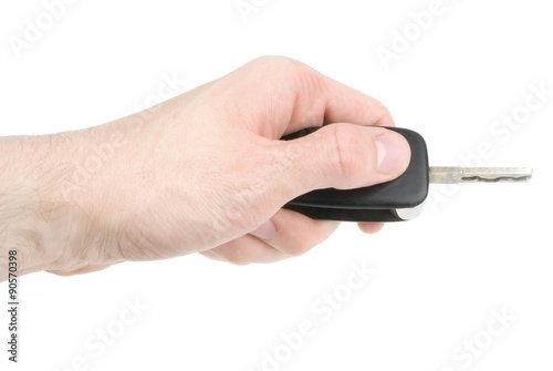 Poster Hand holding car keys isolated on white background