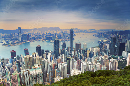 Poster Hong Kong. Image of Hong Kong skyline view from Victoria Peak.