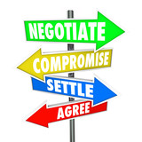 Negotiate Compromise Settle Agree Words Signs Diplomatic Discuss poster