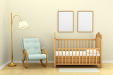 Fototapety Children's bedroom with a crib, chair and floor lamp,