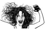 Girl Ecstasy Dance on Party - Illustration, Vector poster