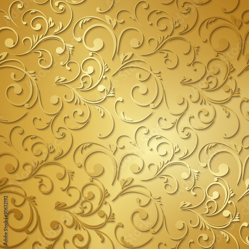 Fototapeta Luxury golden floral wallpaper