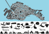 Fototapety Venice map with symbols and landmarks