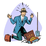 Fototapety businessman found treasure business people concept character