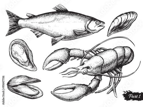 Canvastavla Vector hand drawn seafood set. Vintage illustration