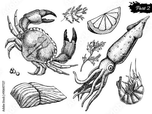 Poster Vector hand drawn seafood set. Vintage illustration