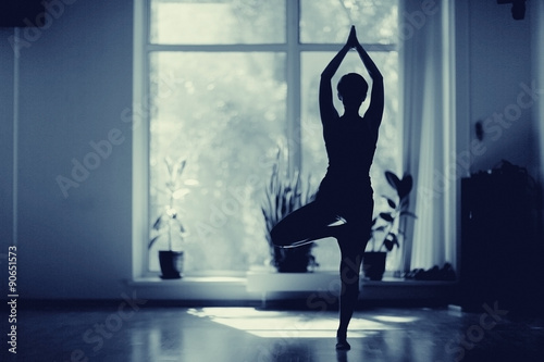 fitness girl yoga silhouette in the room Poster