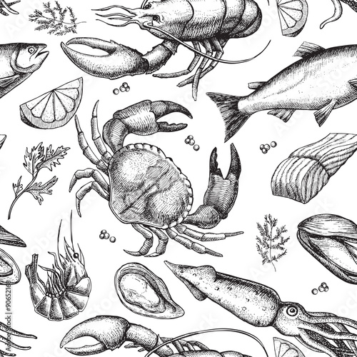 Poster, Tablou Vector hand drawn seafood pattern. Vintage illustration