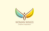 Flying Woman with Wings Logo abstract design vector Fashion - 90673108