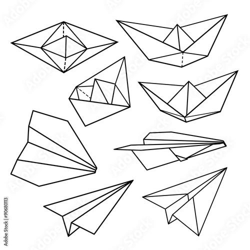 Papiers peints Cartoon draw Vector set: paper planes and paper ships