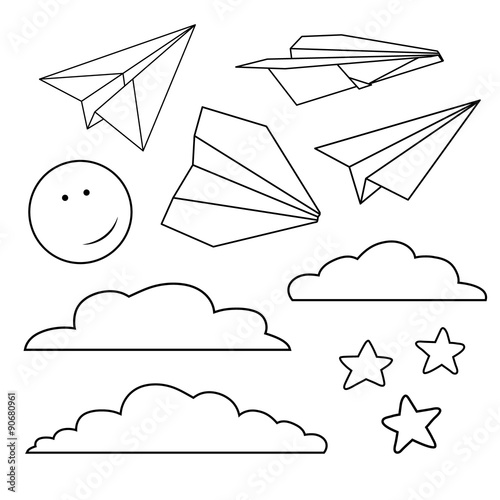Papiers peints Cartoon draw Vector set with isolated paper planes, stars, moon, clouds