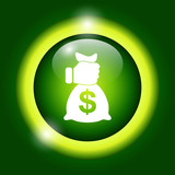 Pictograph of money in hand poster