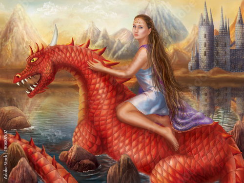Fototapeta Fantasy Red dragon and beautiful princess float on water.