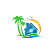 house vila palm tree beach travel logo