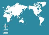Fototapety 飛行機 新幹線 船 世界地図(日本中心)