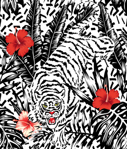 Crouching Tiger, hibiscus and tropical leaves pattern