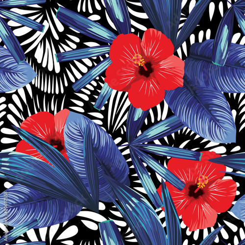 red hibiscus and blue palm leaves patter
