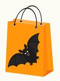 vector Halloween shopping bag with a spooky bat