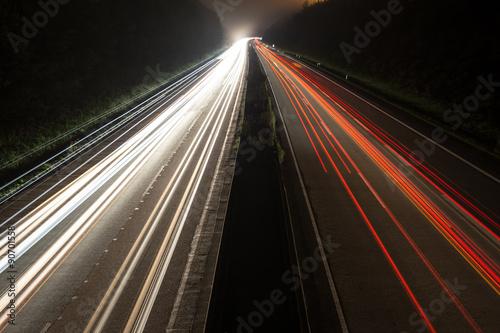 Foto op Aluminium Nacht snelweg german autobahn traffic lights at night