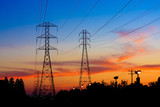 Electricity Towers Sunset - 90709772