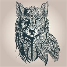 Loup décoratif d'ornement, prédateur, modèle, isolé