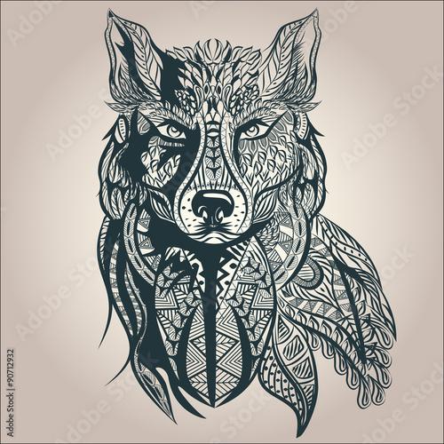 Fototapeta Ornamental decorative wolf, predator, pattern, Isolated