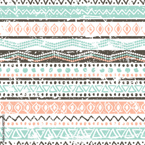 Materiał do szycia Vector ethnic seamless pattern. Hand drawn tribal striped orname