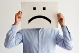 Unhappy employee or demotivated at working place poster