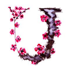 Floral alphabet. Letter U isolated on white background. Illustration