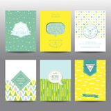 Fototapety Set of Geometric Brochures and Cards - vintage layouts - in vector