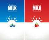 Fototapety milk splash with blueberry and strawberry