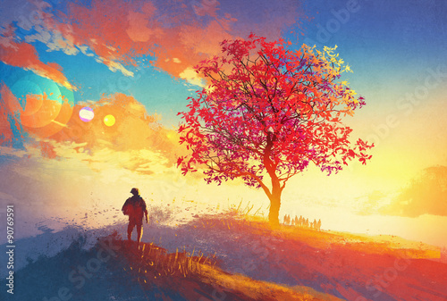 Juliste autumn landscape with alone tree on mountain,coming home concept,illustration pa