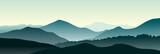 Fototapety Mountain landscape in the summer morning. Horizontal vector illustration.