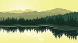 Fototapety Beautiful mountain landscape with reflection in the lake. Vector illustration.
