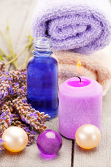 Lavender oil and bath pearls