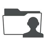Icono aislado expediente simbolo usuario gris