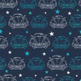Vector Dark Blue Vintage Cars Stars Drawing Seamless Pattern