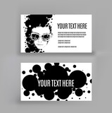 business card with an illustration of vector drawing women . copy space. llustration was created using circles. .