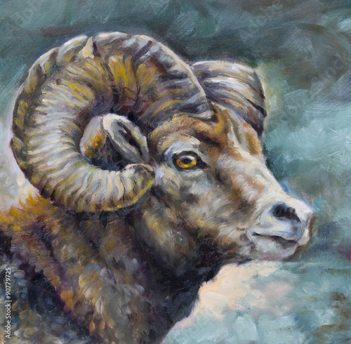 oil painting on canvas of a ram - 90779725