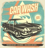 Retro car wash poster design