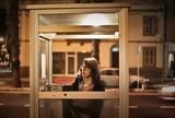 telephone box in the night