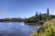 Canada's Parliament buildings seen above the Ottawa River