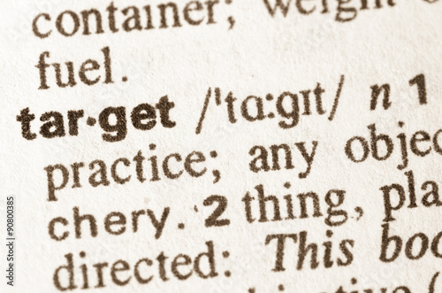 Poster Dictionary definition of  word target